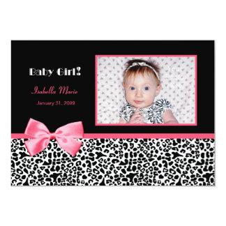 Annonces roses et noires à la mode de naissance de carton d'invitation  12,7 cm x 17,78 cm