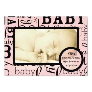 Annonces roses personnalisables de photo de bébé carton d'invitation  12,7 cm x 17,78 cm