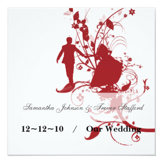 Annonces rouges et blanches de mariage carton d'invitation  13,33 cm