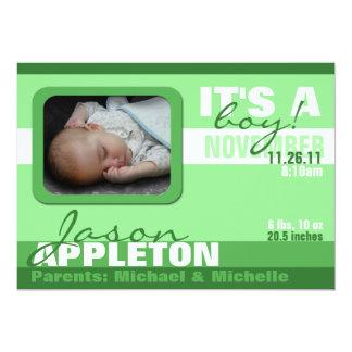 Annonces vertes à la mode modernes de naissance de carton d'invitation  12,7 cm x 17,78 cm