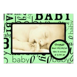 Annonces vertes personnalisables de photo de bébé carton d'invitation  12,7 cm x 17,78 cm