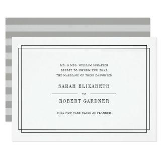Annulation noire et blanche simple de mariage carton d'invitation  11,43 cm x 15,87 cm