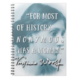 Anonyme était un bleu de citation de la Virginie Carnet À Spirale
