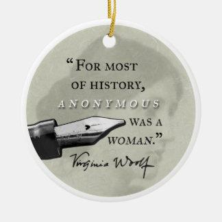 Anonyme était un circl de citation de la Virginie Ornement Rond En Céramique
