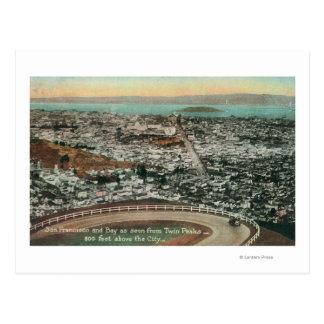 Antenne de la ville des crêtes jumelles carte postale