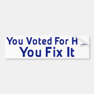 Anti adhésif pour pare-chocs d'Obama Autocollant De Voiture