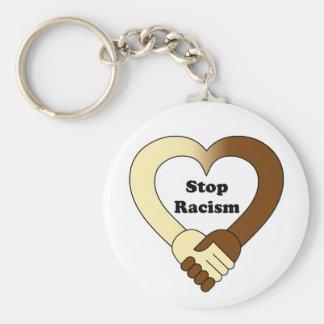 Anti logo de poignée de main de racisme porte-clé rond