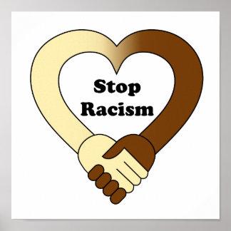 Anti logo de poignée de main de racisme poster