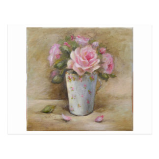 antique Rose painting  blue vase, bouquet ✿H.Flont Carte Postale