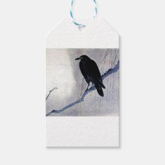 Antiquité noire d'oiseau de Raven Étiquettes-cadeau