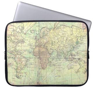 Antiquité vintage de jaune de carte du monde trousses ordinateur
