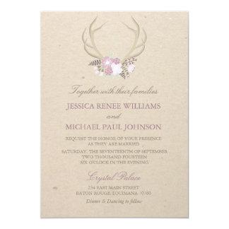 Antler floral épousant des invitations
