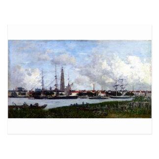 Anvers, le port par Eugene Boudin Cartes Postales