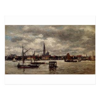 Anvers, le Schelde par Eugene Boudin Carte Postale