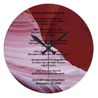 Apache épousant la coutume d'horloge de photo de grande horloge ronde