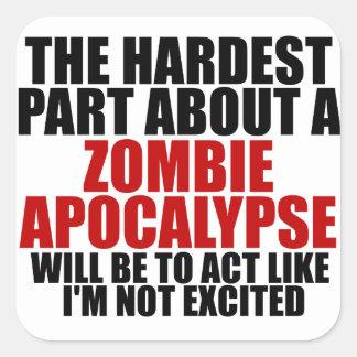 Apocalypse de zombi autocollant carré