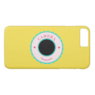 Appareil-photo bleu et sourire d'individualité coque iPhone 7 plus