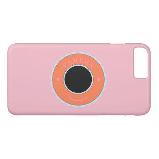 Appareil-photo orange et sourire d'individualité coque iPhone 7 plus