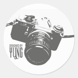 Appareil-photo vintage sticker rond
