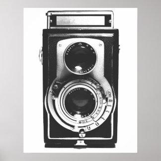 Appareil-photo vintage de b&w affiche