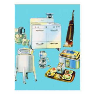 Appareils électroménagers modernes de kitsch carte postale