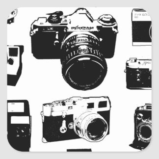 appareils photos vintage cameras sticker carré