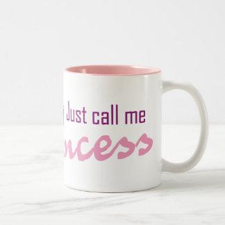 Appelez-juste moi princesse mug bicolore