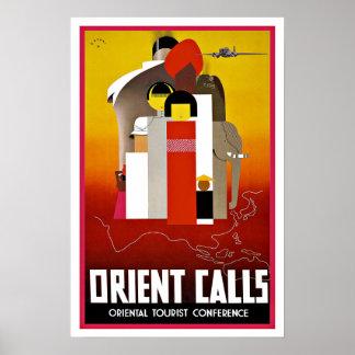 Appels vintages de l'Orient de voyage vers l'Asie Poster