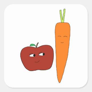 Apple-Carotte Sticker Carré