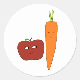 Apple-Carotte Sticker Rond