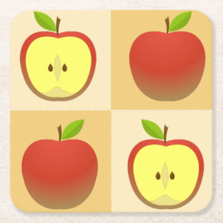 Apple et demi de motif dessous-de-verre carré en papier