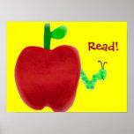 Apple et rat de bibliothèque affiches