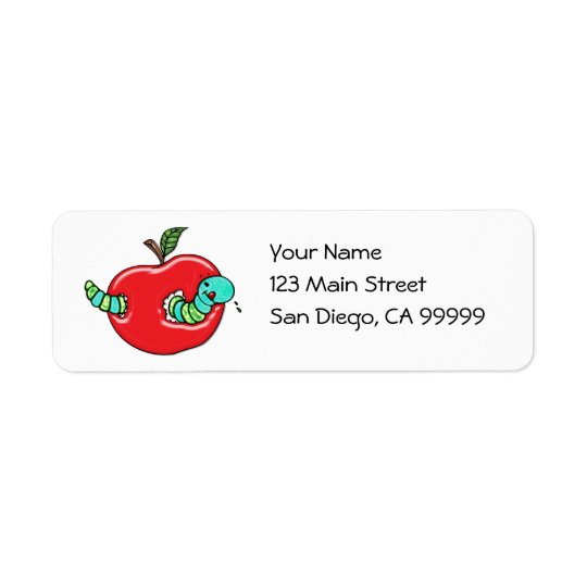 Apple et un ver affamé étiquettes d'adresse retour
