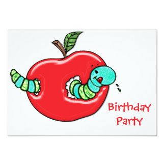 Apple et une fête d'anniversaire affamée de ver bristols personnalisés