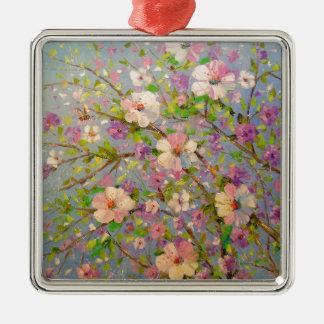 Apple fleurissant ornement carré argenté