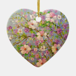 Apple fleurissant ornement cœur en céramique