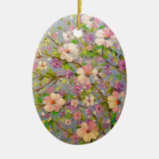 Apple fleurissant ornement ovale en céramique