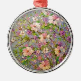 Apple fleurissant ornement rond argenté
