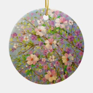 Apple fleurissant ornement rond en céramique