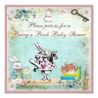 Apportez un livre Alice et le baby shower de chat Carton D'invitation 13,33 Cm