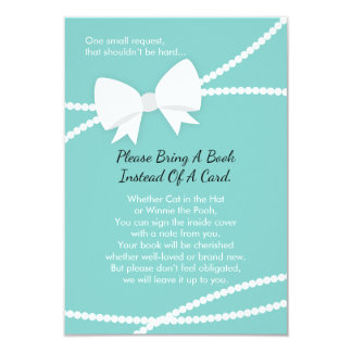 Apportez une carte de livre, baby shower, bleu de carton d'invitation 8,89 cm x 12,70 cm