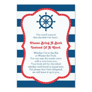 Apportez une carte de livre, oh, nautique, baby carton d'invitation 8,89 cm x 12,70 cm