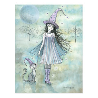 Apprécier la carte postale de chat de sorcière de