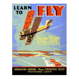Apprenez à piloter le poster vintage reconstitué cartes postales