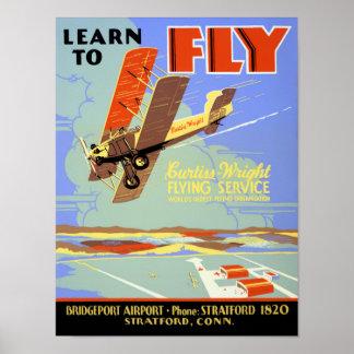 Apprenez à piloter le poster vintage reconstitué posters