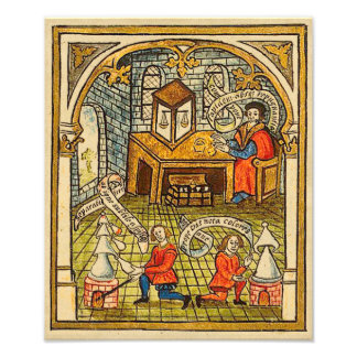 Apprentis dans un laboratoire médiéval photos