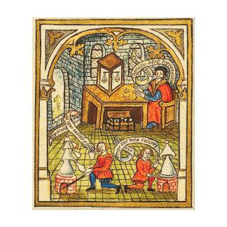 Apprentis dans un laboratoire médiéval toiles