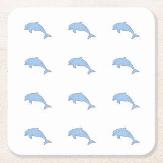Approvisionnements bleus de partie de dauphins dessous-de-verre carré en papier