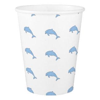 Approvisionnements bleus de partie de dauphins gobelets en papier