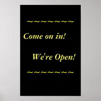 Approvisionnements de restaurant, signe ouvert, posters